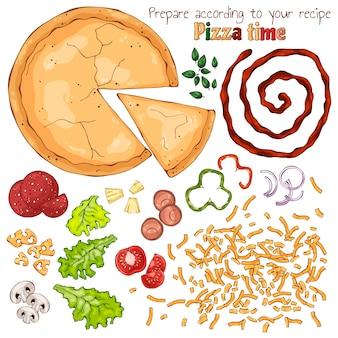 Gruppo di prodotti vettoriali isolato per la cottura della pizza.