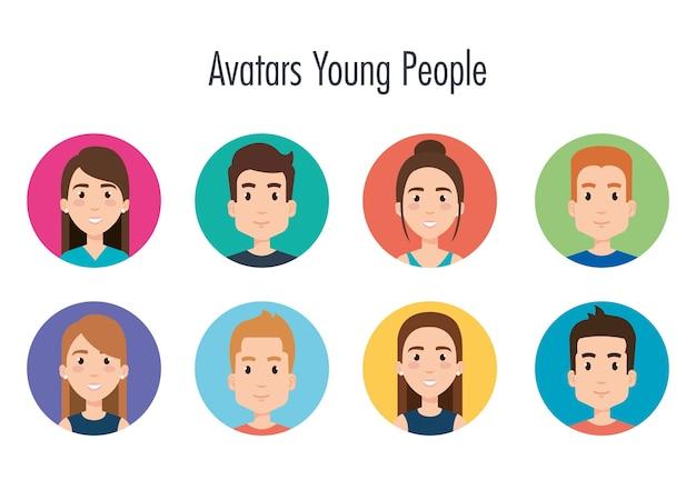 Gruppo di progettazione dell'illustrazione di vettore degli avatar dei giovani