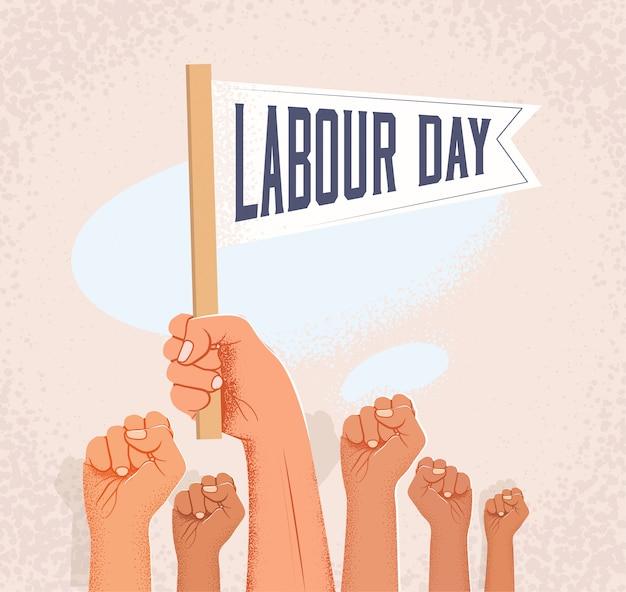 Gruppo di pugni alzati e bandiera della tenuta della mano con la didascalia di festa del lavoro. illustrazione
