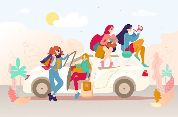 Gruppo di ragazze con i sacchetti dopo lo shopping in macchina.