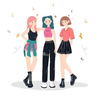 Gruppo di ragazze cool k-pop