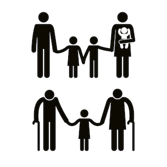 Gruppo di sagome di avatar di membri della famiglia