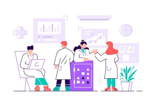 Gruppo di scienziati che indossano camici che conducono esperimenti nel laboratorio di scienze. ricercatori maschi e femmine in laboratorio chimico. ricerca scientifica. illustrazione variopinta del fumetto di stile piano.