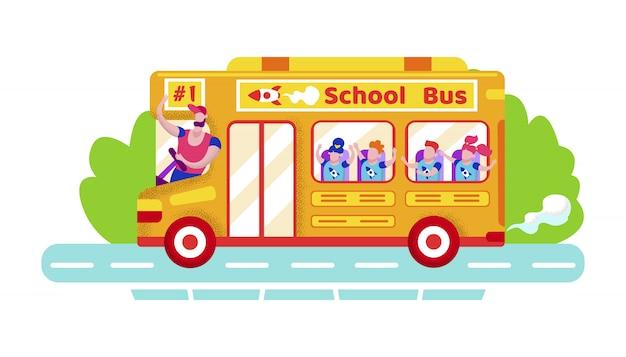 Gruppo di scolari che guidano in scuolabus giallo