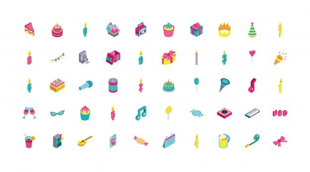Gruppo di set di icone di celebrazione di compleanno