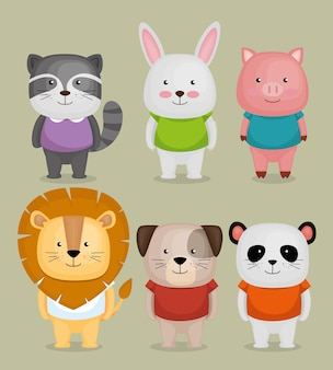 Gruppo di simpatici animali illustrazione vettoriale design