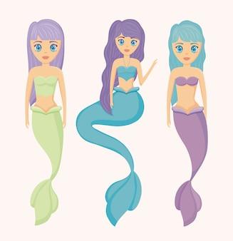 Gruppo di simpatici personaggi avatar di sirene