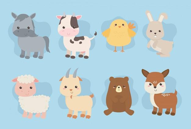 Gruppo di simpatici personaggi di fattoria degli animali