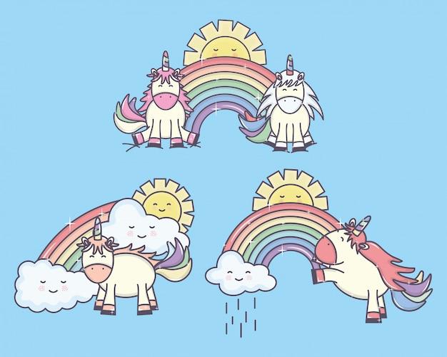 Gruppo di simpatici unicorni con arcobaleni e personaggi dei soli