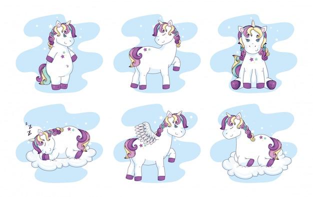 Gruppo di simpatici unicorni fantasia personaggio