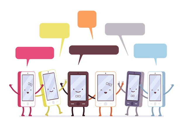 Gruppo di smartphone felici