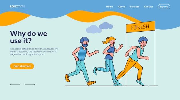 Gruppo di sportivi che eseguono il modello della pagina di atterraggio di maratona