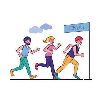Gruppo di sportivi che eseguono l'illustrazione di vettore di maratona