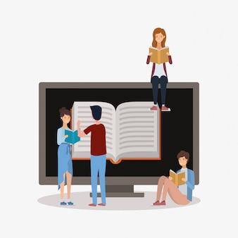 Gruppo di studenti che leggono libri