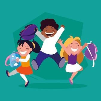 Gruppo di studenti con la valigia della scuola, ritorno a scuola
