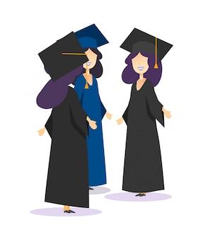 Gruppo di studenti di laurea in abito e parlare di cappelli accademici