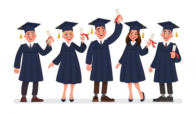 Gruppo di studenti laureati con diplomi.