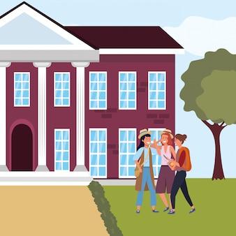 Gruppo di studenti millenari nel campus