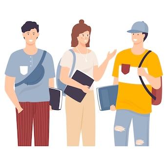 Gruppo di studenti multiculturali illustrazione vettoriale piatta. le ragazze ed i ragazzi che tengono i libri e il computer portatile hanno isolato i caratteri. adolescente felice in abiti casual. stile di vita giovanile.