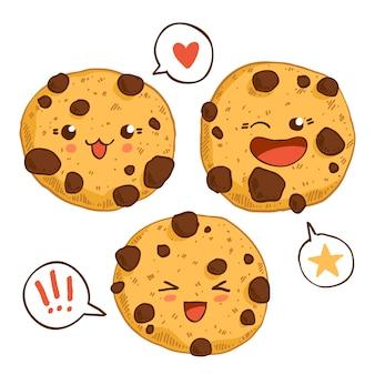 Gruppo di tre simpatici biscotti kawaii con chip chocolste.