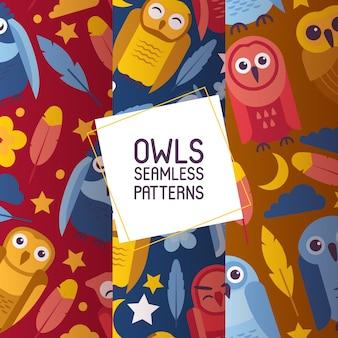 Gruppo di uccelli luminosi colorati. gli uccelli notturni dei gufi del fumetto con i grandi occhi aperti e chiusi hanno messo dell'illustrazione senza cuciture di vettore dei modelli.