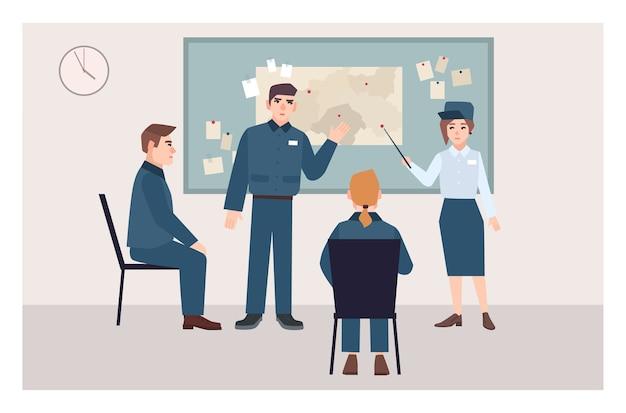Gruppo di ufficiali di polizia maschii e femminili che si siedono sulle sedie e che stanno accanto alla bacheca. processo di indagine sul crimine, procedura di esame delle prove. personaggi dei cartoni animati piatti. illustrazione vettoriale.