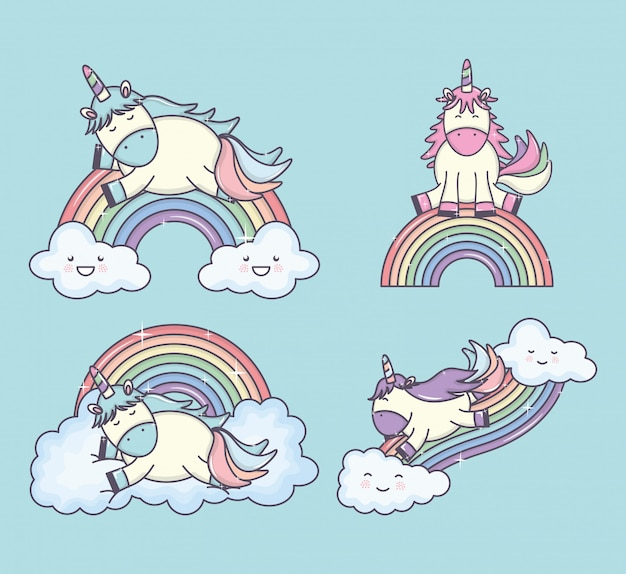 Gruppo di unicorni carini con caratteri arcobaleni e nuvole