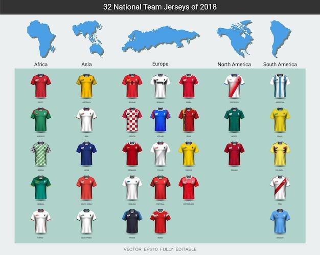 Gruppo di uniformi della nazionale di calcio della squadra nazionale 2018