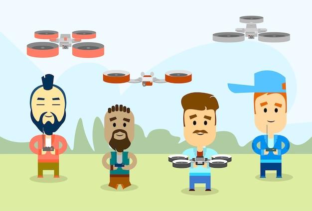 Gruppo di uomini casuali con drone