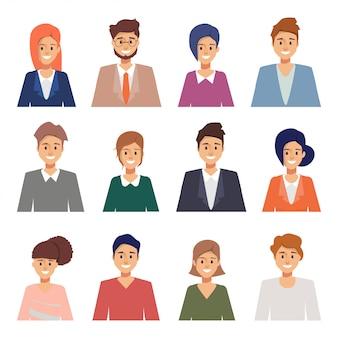 Gruppo di uomini d'affari che lavorano in azienda. set di caratteri avatar in risorse umane.