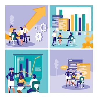 Gruppo di uomini d'affari con statistiche grafiche