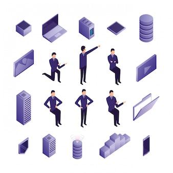 Gruppo di uomini d'affari e icone del data center