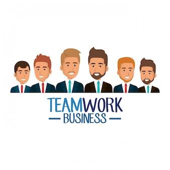Gruppo di uomini d'affari illustrazione di lavoro di squadra