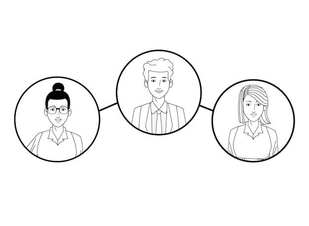 Gruppo di uomini d'affari immagine del profilo avatar in tondo