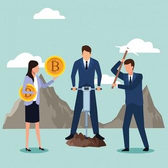 Gruppo di uomini d'affari in cerca di bitcoin
