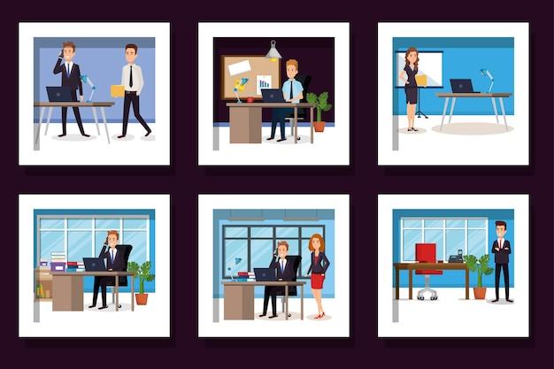Gruppo di uomini d'affari nei luoghi di lavoro