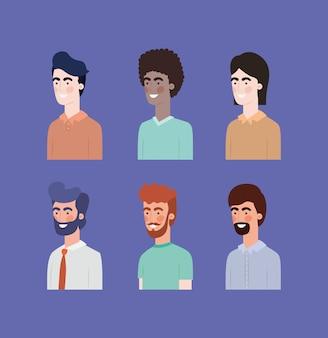 Gruppo di uomini personaggi interrazziali