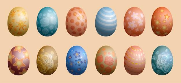 Gruppo di uova di pasqua decorate isolato su sfondo. insieme dei simboli pasquali coperto di vari ornamenti - piante, strisce, punti, fiori. illustrazione realistica per la celebrazione della festa