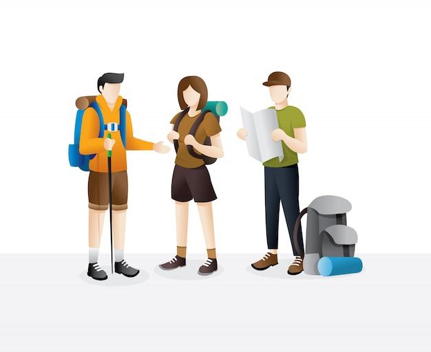 Gruppo di viaggiatori che camminano
