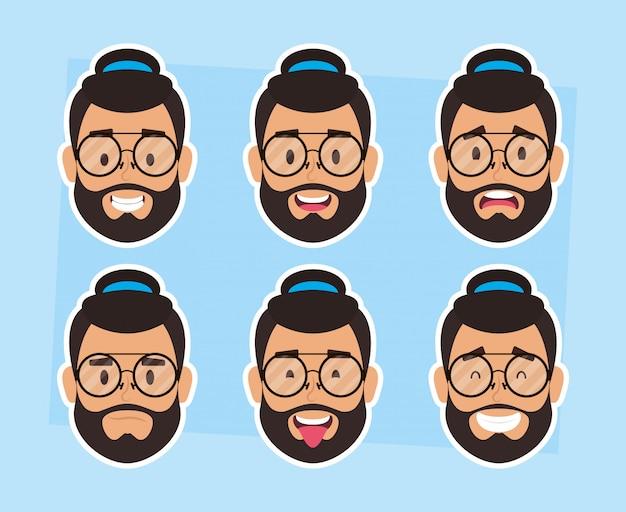 Gruppo di volti di uomo barbuto con cappello e occhiali