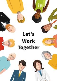 Gruppo internazionale di persone che lavorano in team, illustrazione piatta su sfondo bianco