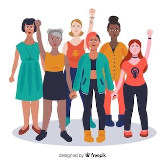 Gruppo interrazziale di donne sullo sfondo
