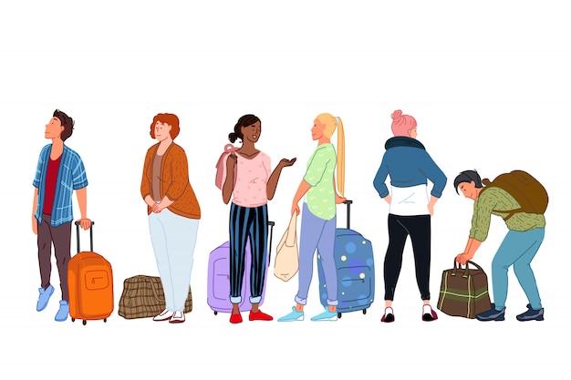 Gruppo isolato di personaggi dei cartoni animati che vanno in viaggio e in attesa di partenza