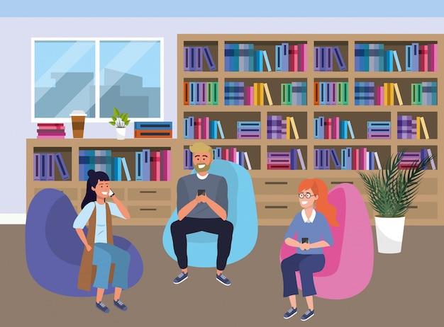 Gruppo millenario sull'illustrazione della stanza di studio