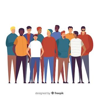 Gruppo multietnico di persone sullo sfondo