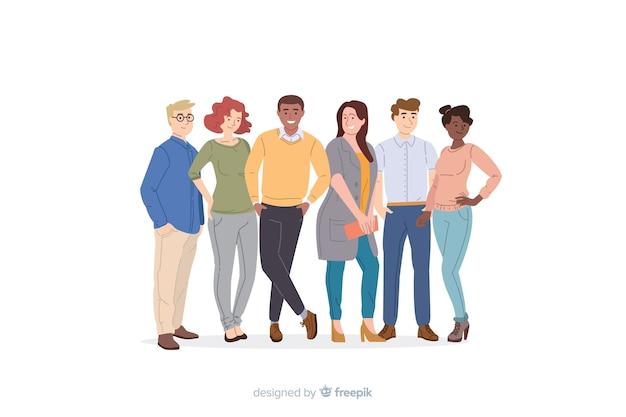 Gruppo multirazziale di persone design piatto