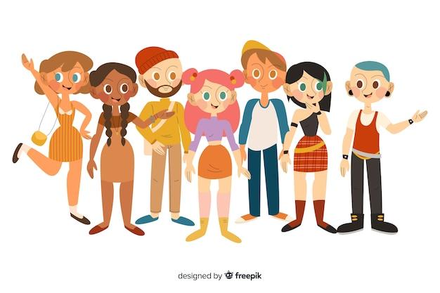 Gruppo multirazziale piatto di persone