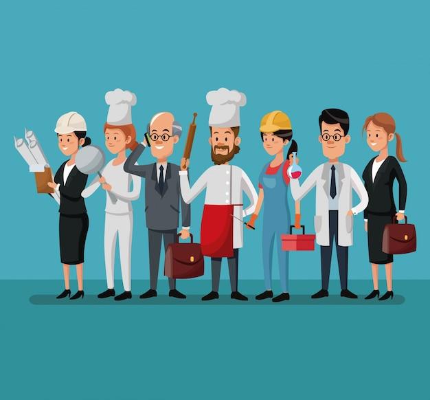 Gruppo persone varie professioni lavoro giorno