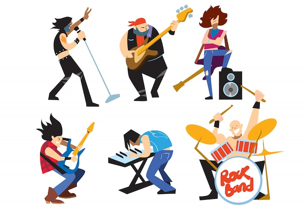 Gruppo rock dei musicisti isolato su fondo bianco.