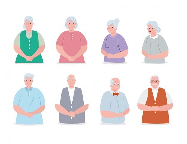 Gruppo simpatici anziani, nonni sorridenti